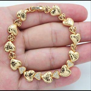 18K Gold filled Topaz Laser Hearts Link Bracelet